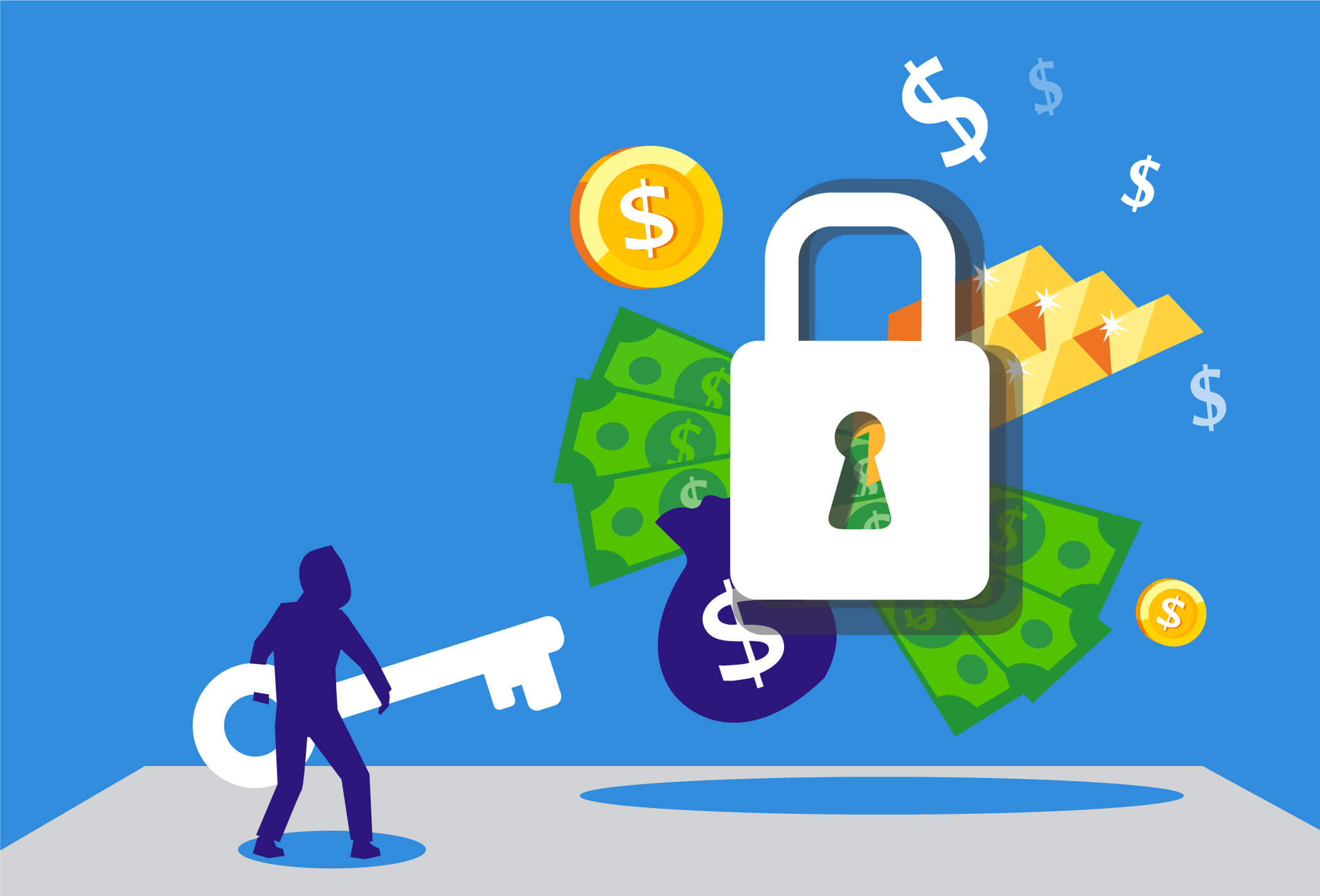 Illustration of a person unlocking access to more money with a key, just like a secured personal loan will do.