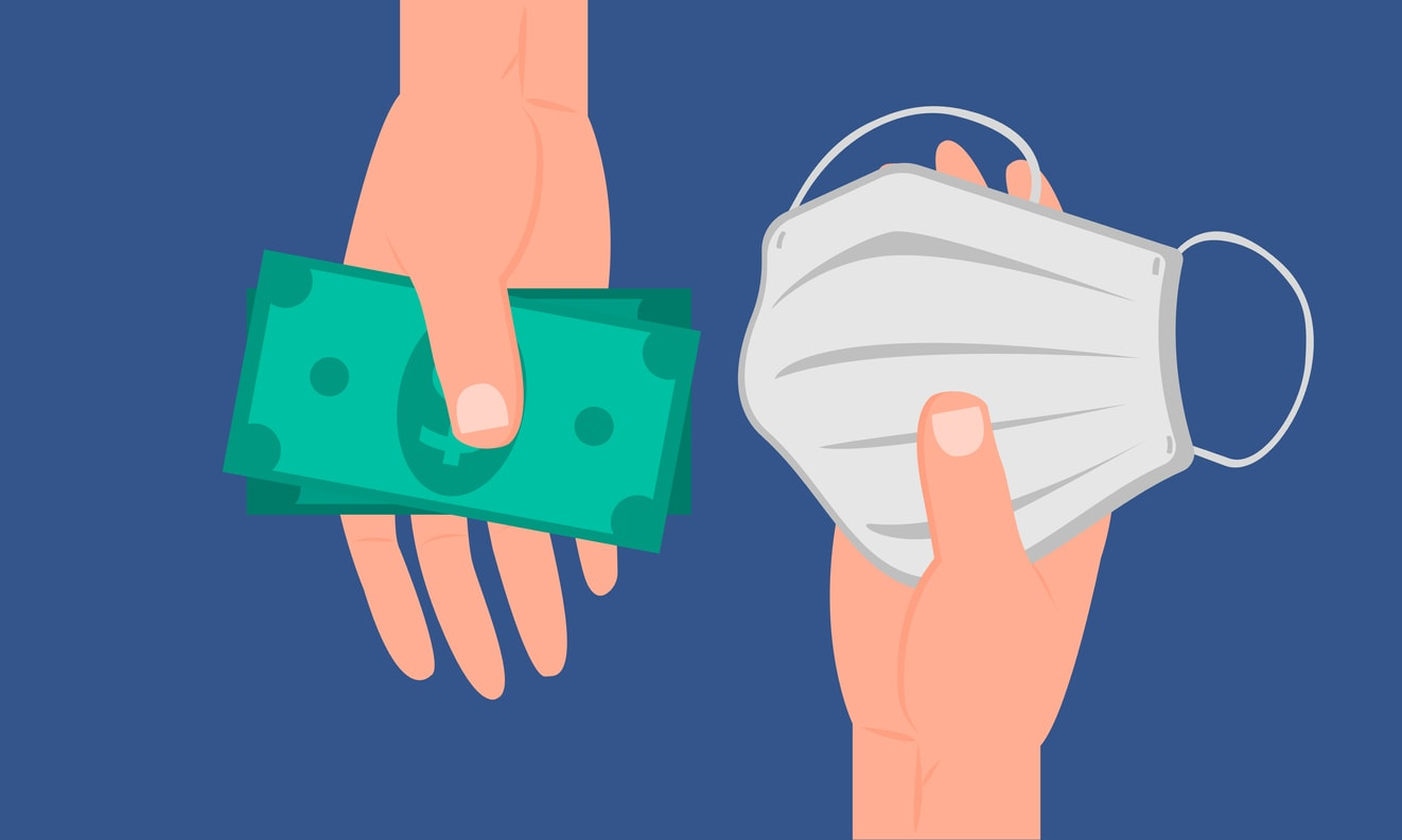 illustration of hands holding money and a face mask indicating how to financially survive this pandemic