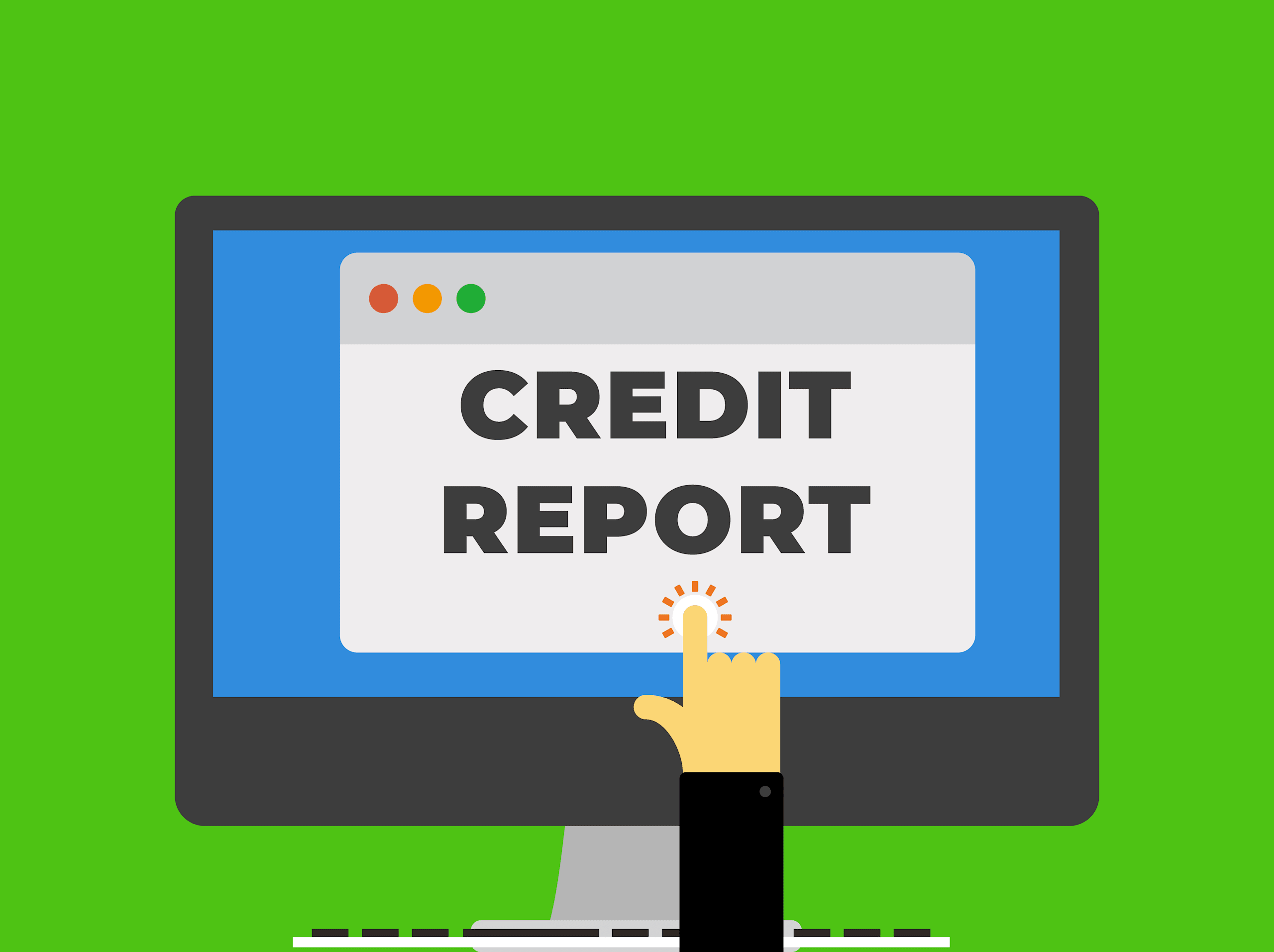 """illustration of a hand clicking on a computer screen that reads """"credit report"""" so the person can read more about reports and scores."""