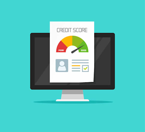 Illustration of a computer screen with a credit report and credit score.