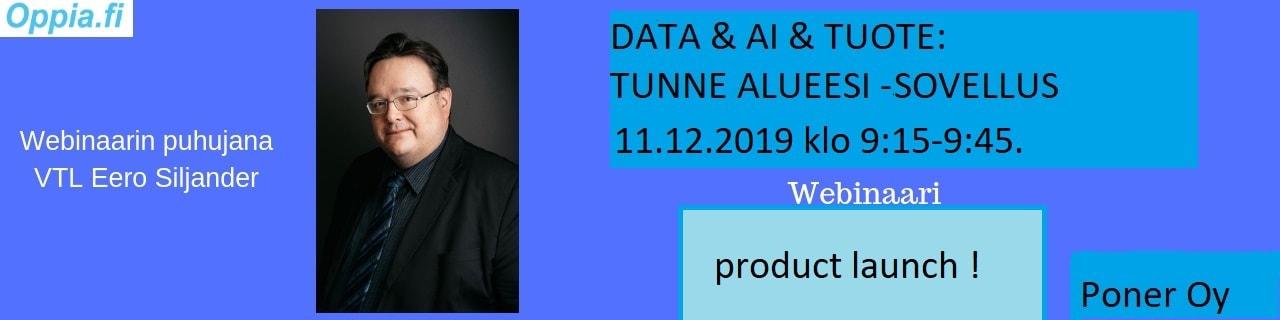 Data & AI & Tuote: Tunne Alueesi -sovellus.