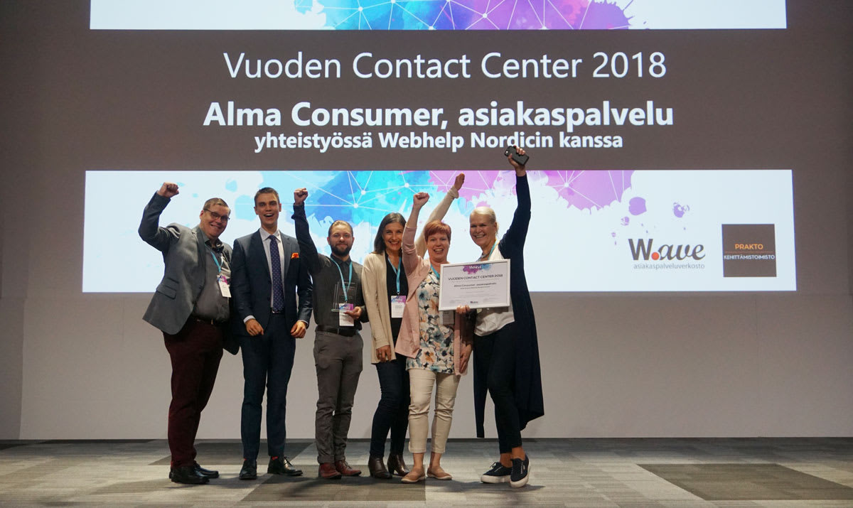Vuoden Contact Center 2018: Alma Consumer ja Webhelp Nordic