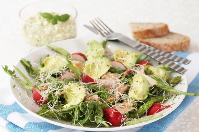 Kyllingsalat med avokado og cottage cheese