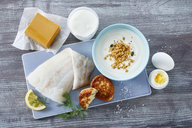 Kilder til jod; meieriprodukter, hvit fisk, fiskekaker, egg og salt