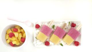 Ispinner med bringebær og mango.