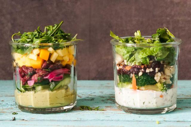 Salat på glass