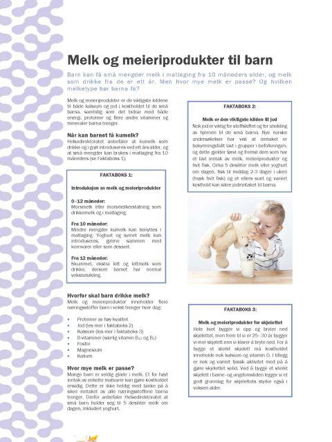 Faktaark om melk og meieriprodukter til barn