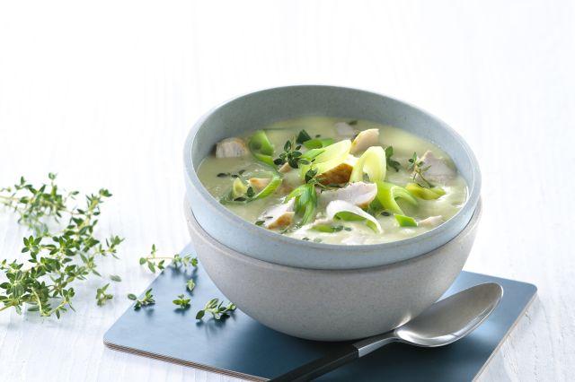 Suppe med potet og purreløk