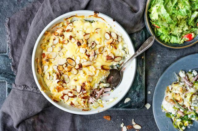 skinkegrateng med purreløk og cottage cheese