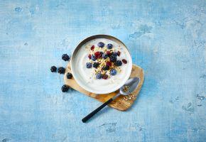 Skål med yoghurt med bær