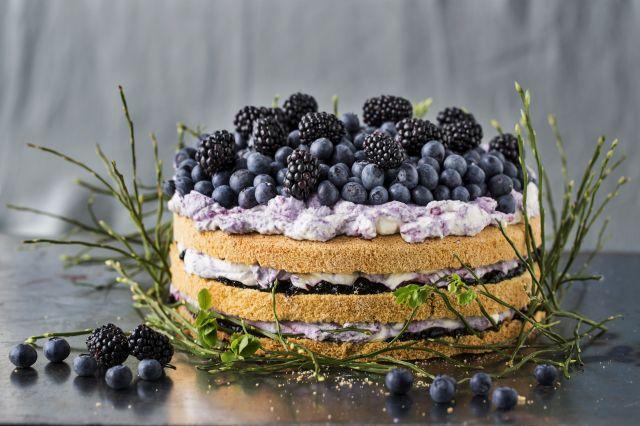 Bløtkake med blåbær