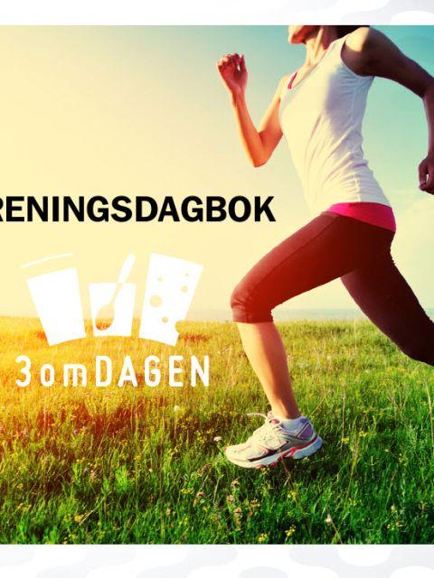 Forside treningsdagbok. Bilde av dame som løper.