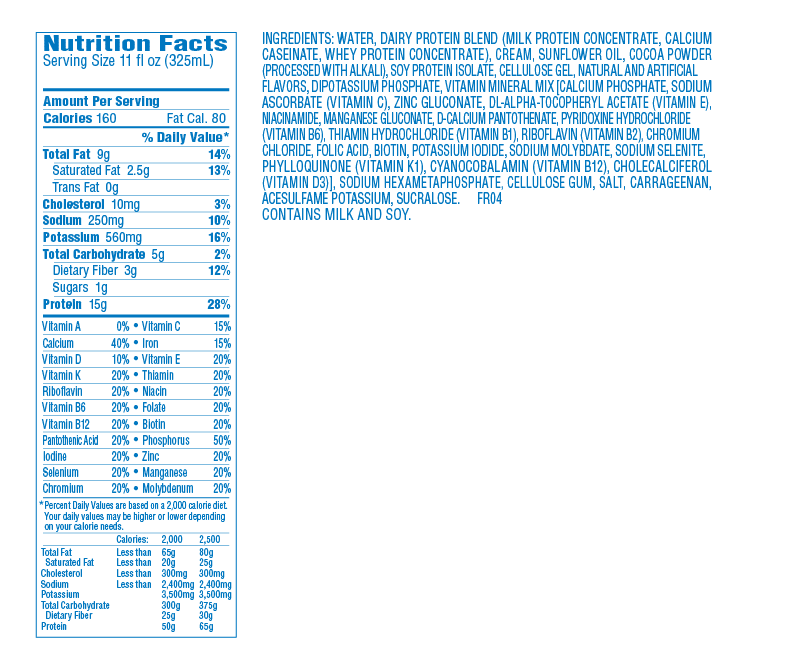 Atkins Shakes nutrition label