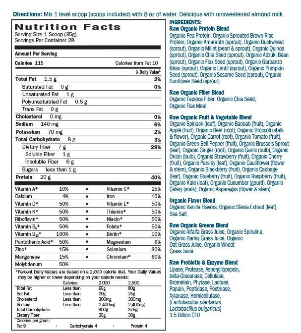 Garden of Life Ingredient Labels meal replacement