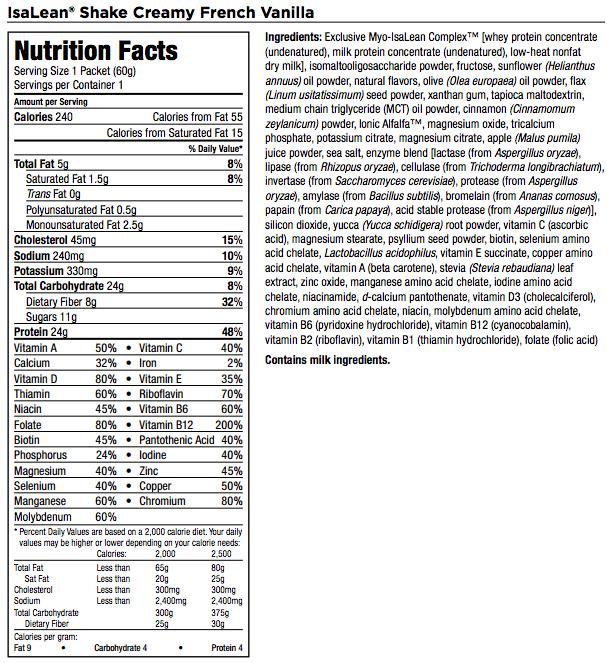 isagenix isalean ingredients flavors