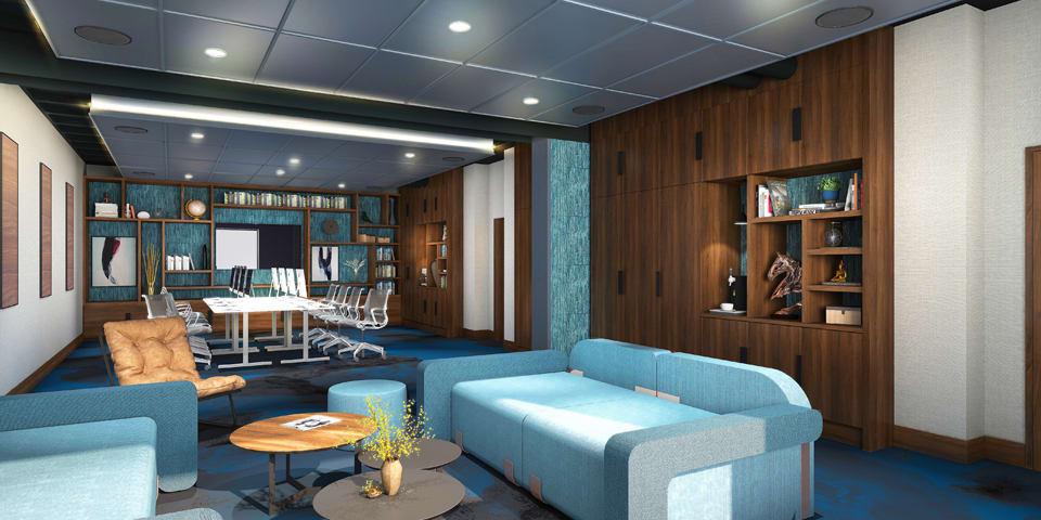 Aménagement intérieur du lobby du Novotel de Nanterre Préfecture- Concept N'Room