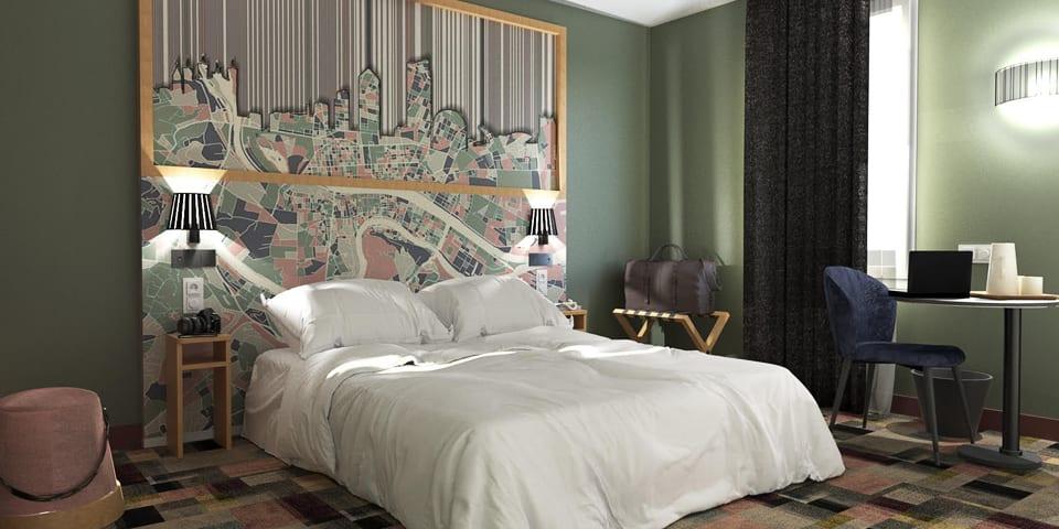 Aménagement et décoration des chambre de l'ibis Styles de Lyon Croix Rousse