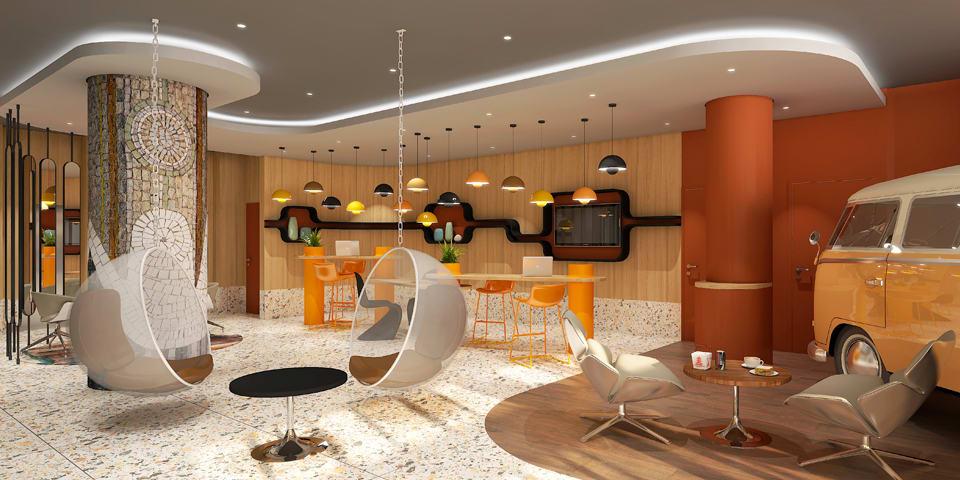 Concours rénovation hôtel Mecure de Rennes sur le thème années 70