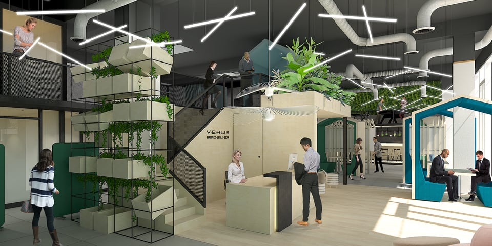 Retail design et aménagement siège social Véalis immobilier à Bordeaux
