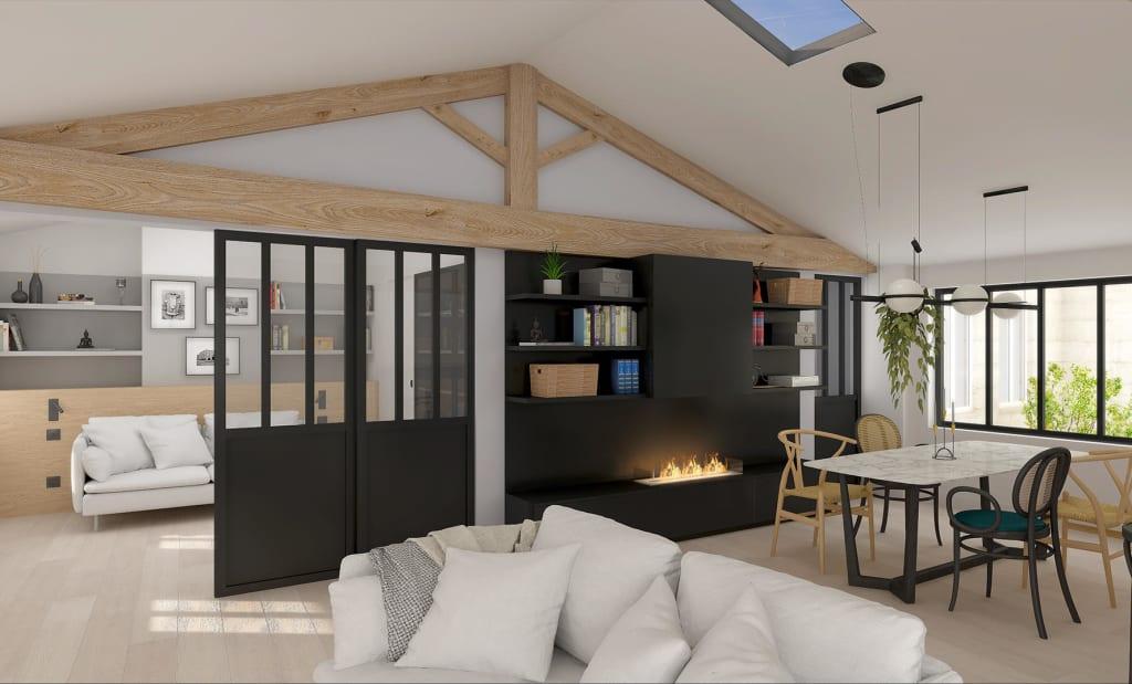 Perspective d'un appartement rénové en Loi Malraux