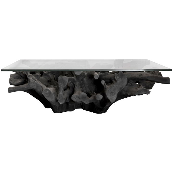 Burnt Teak Root Coffee Table With Glass For Sale