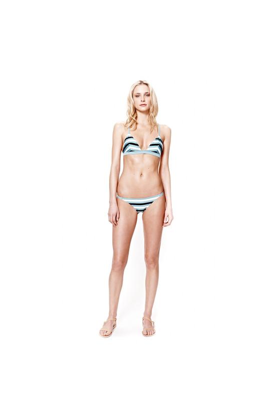 Solid and striped morgan bikini top black nude