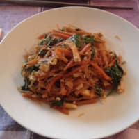 Soy spaghetti with vegetables yen recipe