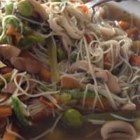 espaguetis de soja con verduras y gambas paso 6