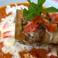 Rolled eggplant with stracciatela of Andalusian gazpacho