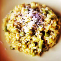 Risotto of field asparagus, saffron and pecorino cheese