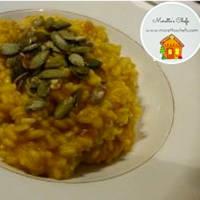 Risotto de calabaza y Ragusa con semillas crujientes
