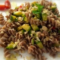 Buckwheat fusilli with zucchini and almonds