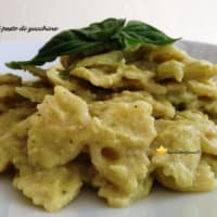 Farfalle with zucchini pesto and basil