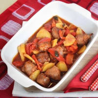Sausage with potatoes and peppers
