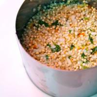 cuscús y coliflor germinaron quinoa con hierbas, cítricos y crema paso 9