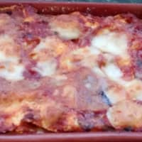 Homemade lasagna with eggplant sauce