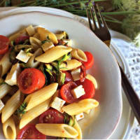 Cold pasta with grilled vegetables