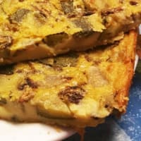 Omelette without eggs with zucchini and radishes, baked