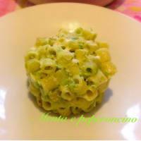 gratinado de pasta con crema de guisantes y queso provolone