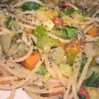 Soy spaghetti with vegetables and chilli
