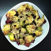 ensalada agridulce con alcachofas