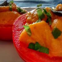 Tomates con crema de zanahoria