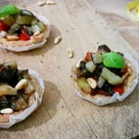 Tarts ratatouille and pine nuts
