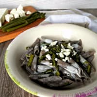 Buckwheat Penne with asparagus and feta cheese fondue