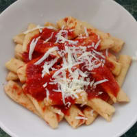 Homemade macaroni with meat sauce vegetarian