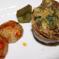 albóndigas de pavo relleno de alcachofas