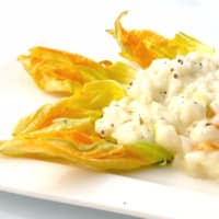 Risotto with zucchini flowers creamy robiola