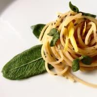 Wholemeal spaghetti with lemon, crispy sage and lemon zest