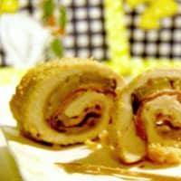 Gira de pollo con jamón y calabacín