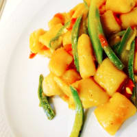 Pumpkin gnocchi with spring salsa